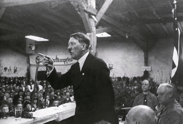 Adolf Hitler holding a speech